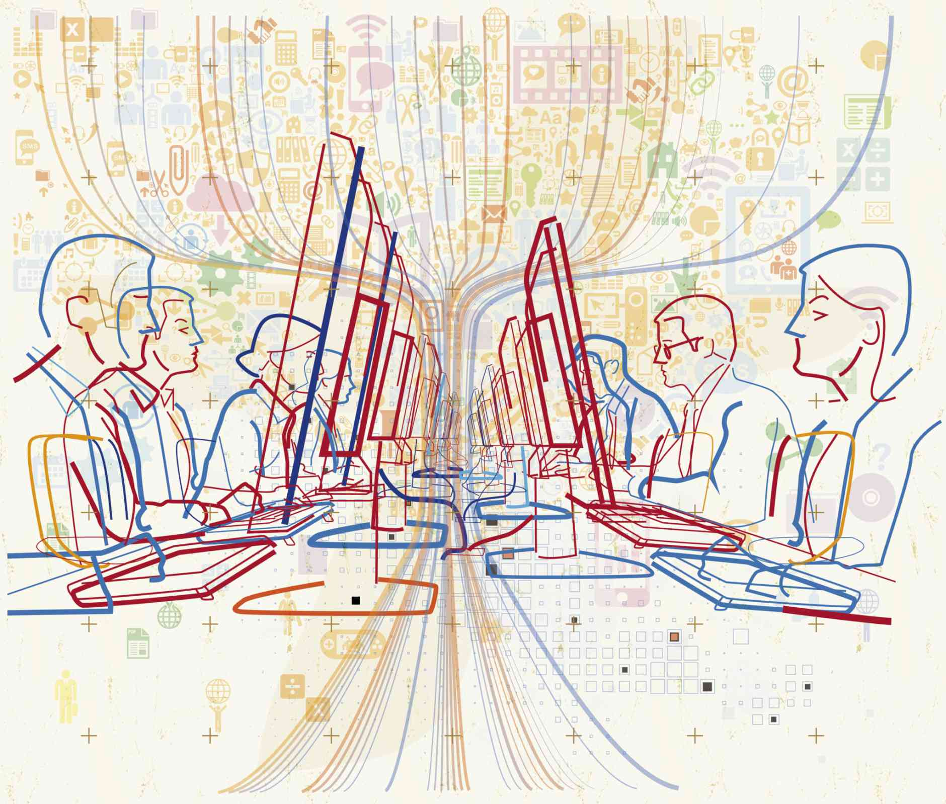 People sit before computers and imagery that signals online and digital communications circles them. The sociology of the internet and digital sociology feature research that interrogates how the internet and digital technology fit into and shape our lives.