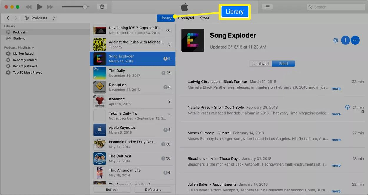 Library tab selected in the iTunes podcasts screen