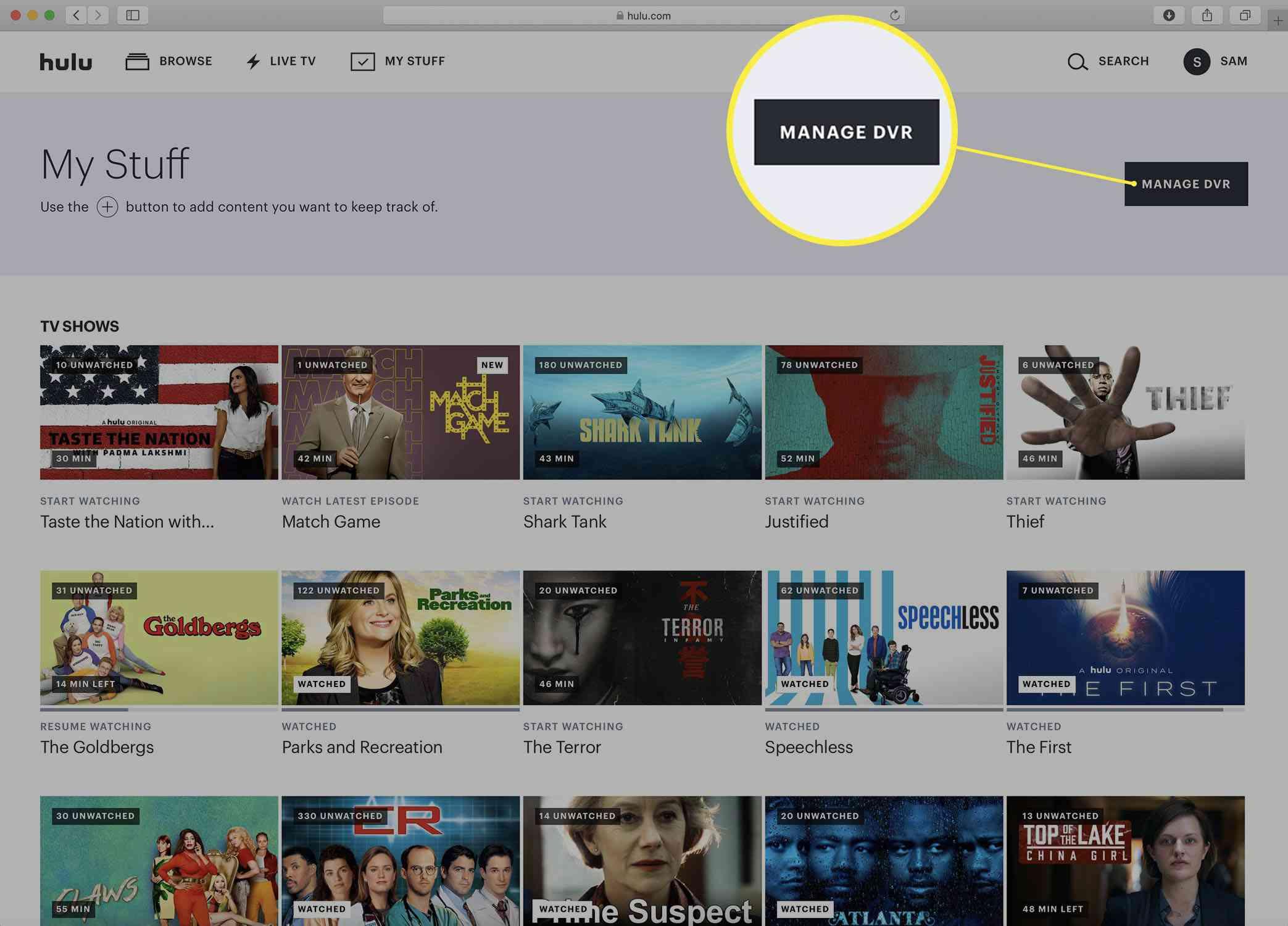Screenshot of the Hulu My Stuff page.