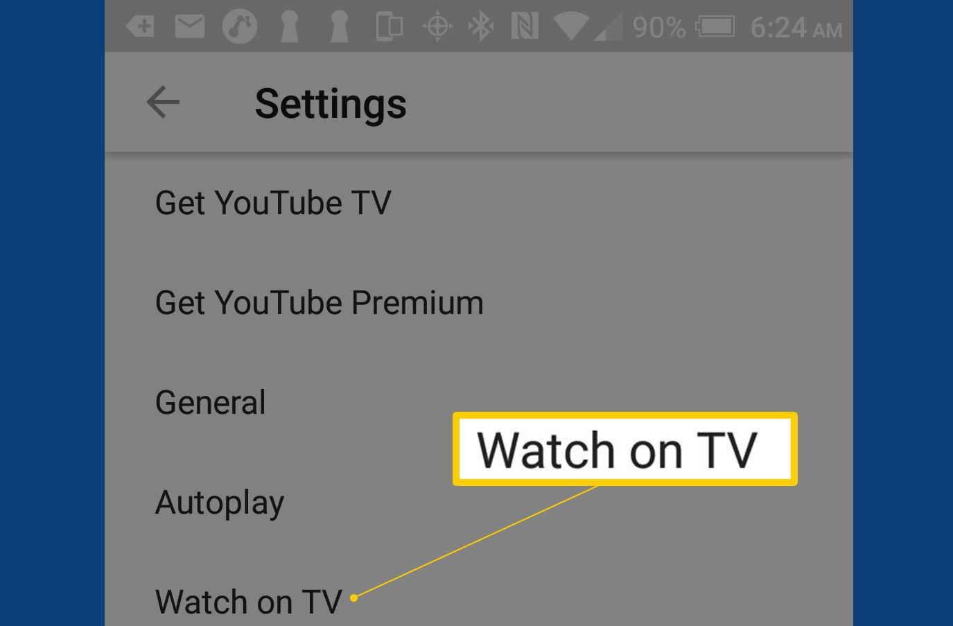 The Watch on TV option