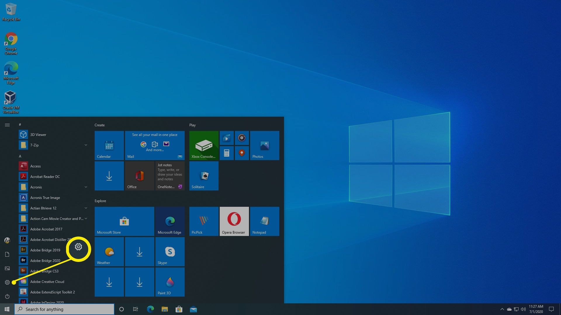 Open the Start Menu, then select the gear to open the Windows Settings.
