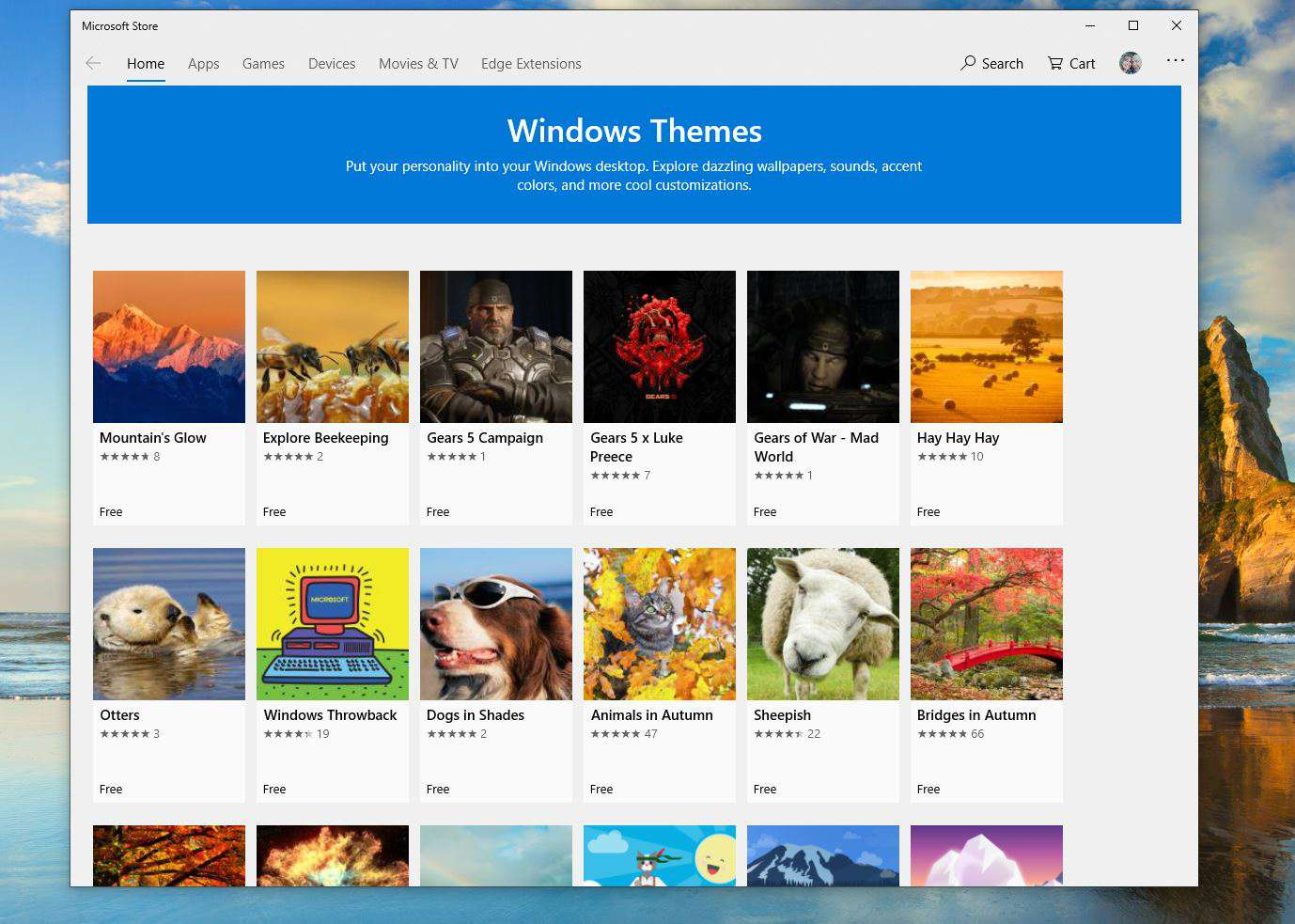 Windows Themes in the Microsoft Store