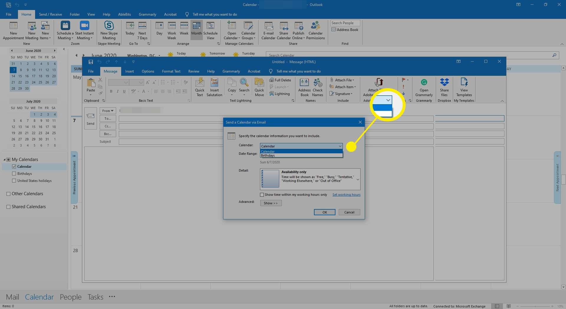 The send a calendar via email dialog in Outlook.