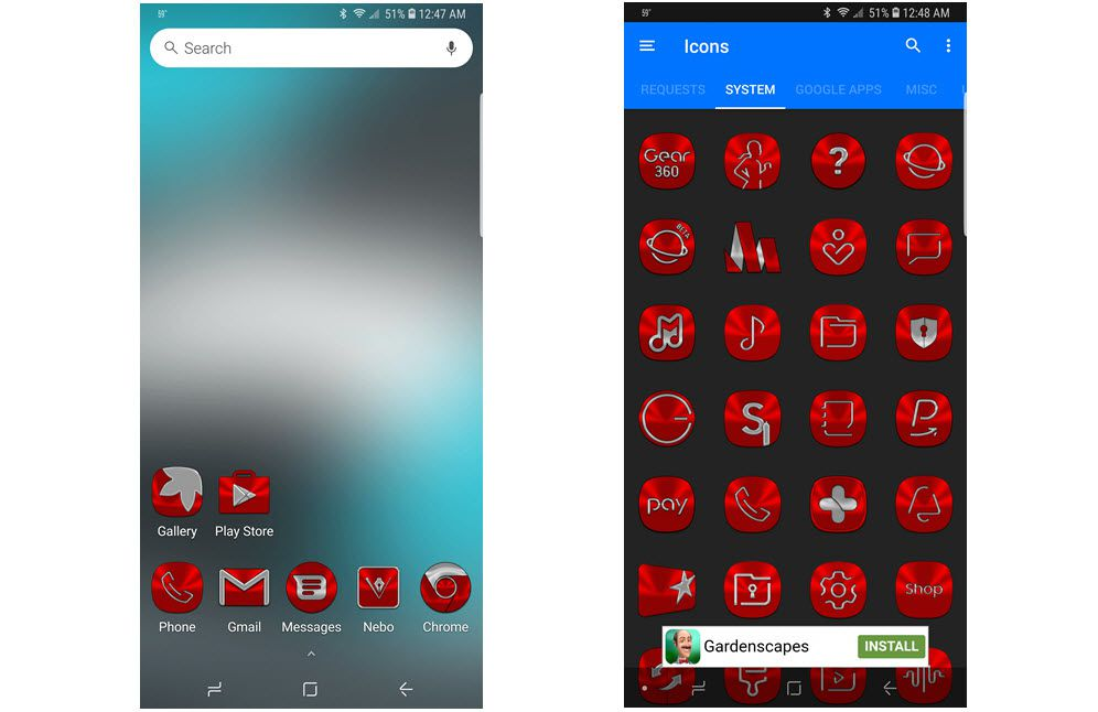Screenshots of the Red icon pack for Android.