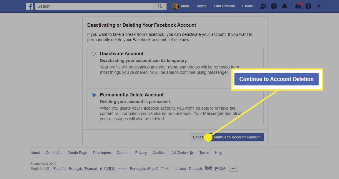 The Account Deletion option in Facebook on a web browser.