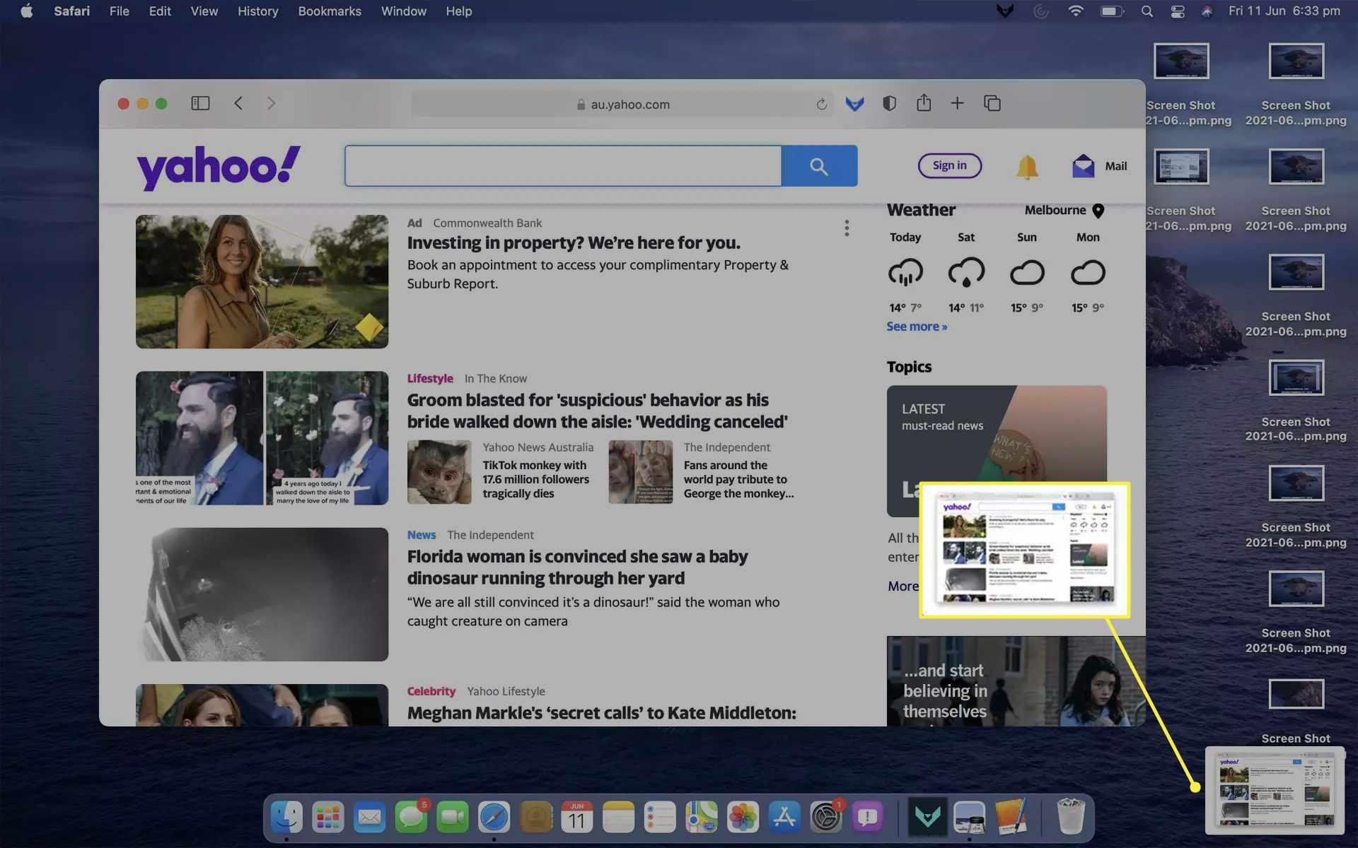 Screenshot of a web browser being saved on MacBook Air