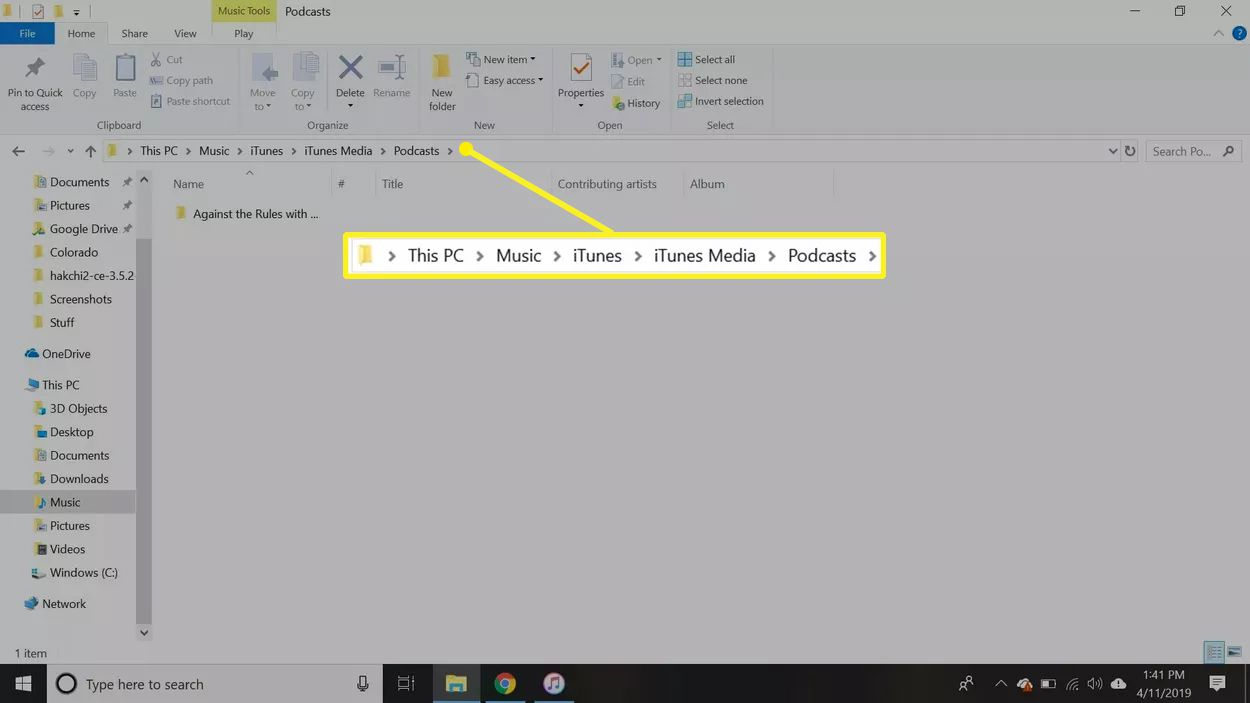 Path to Podcast folder on Windows PC