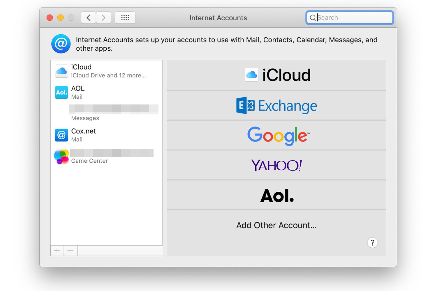 Internet Accounts system preferences screen in macOS
