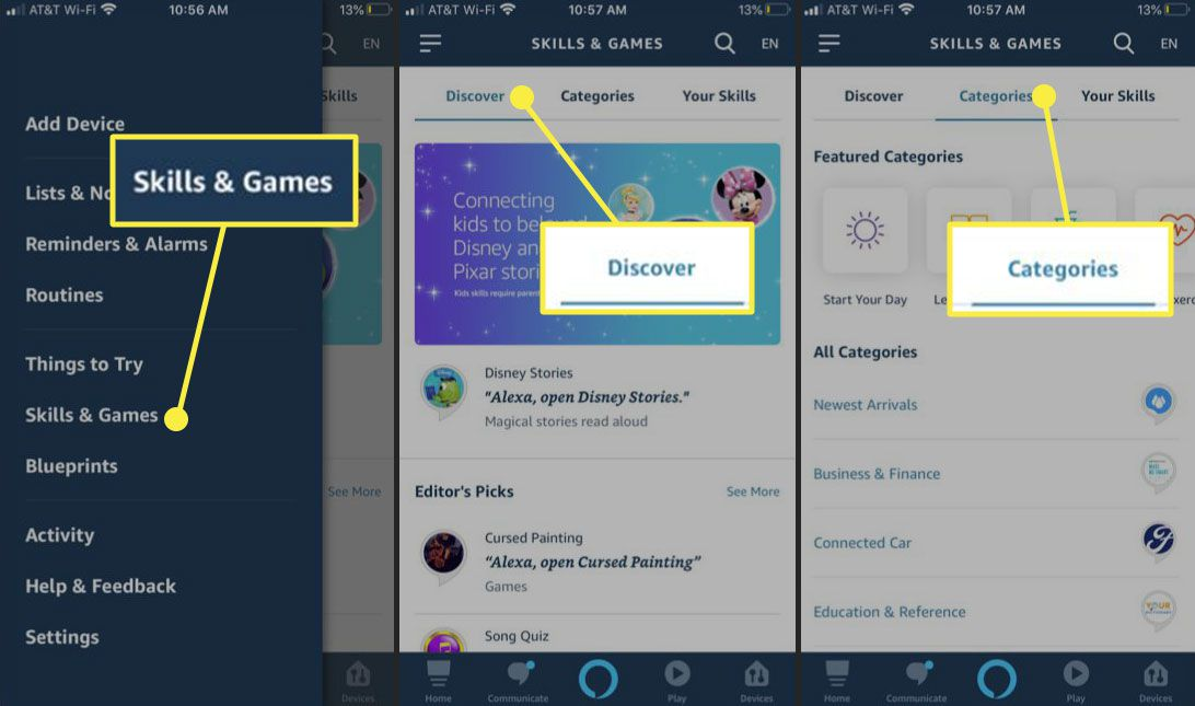 The Alexa app with the Skills & Games, Discover, and Categories headings highlighted