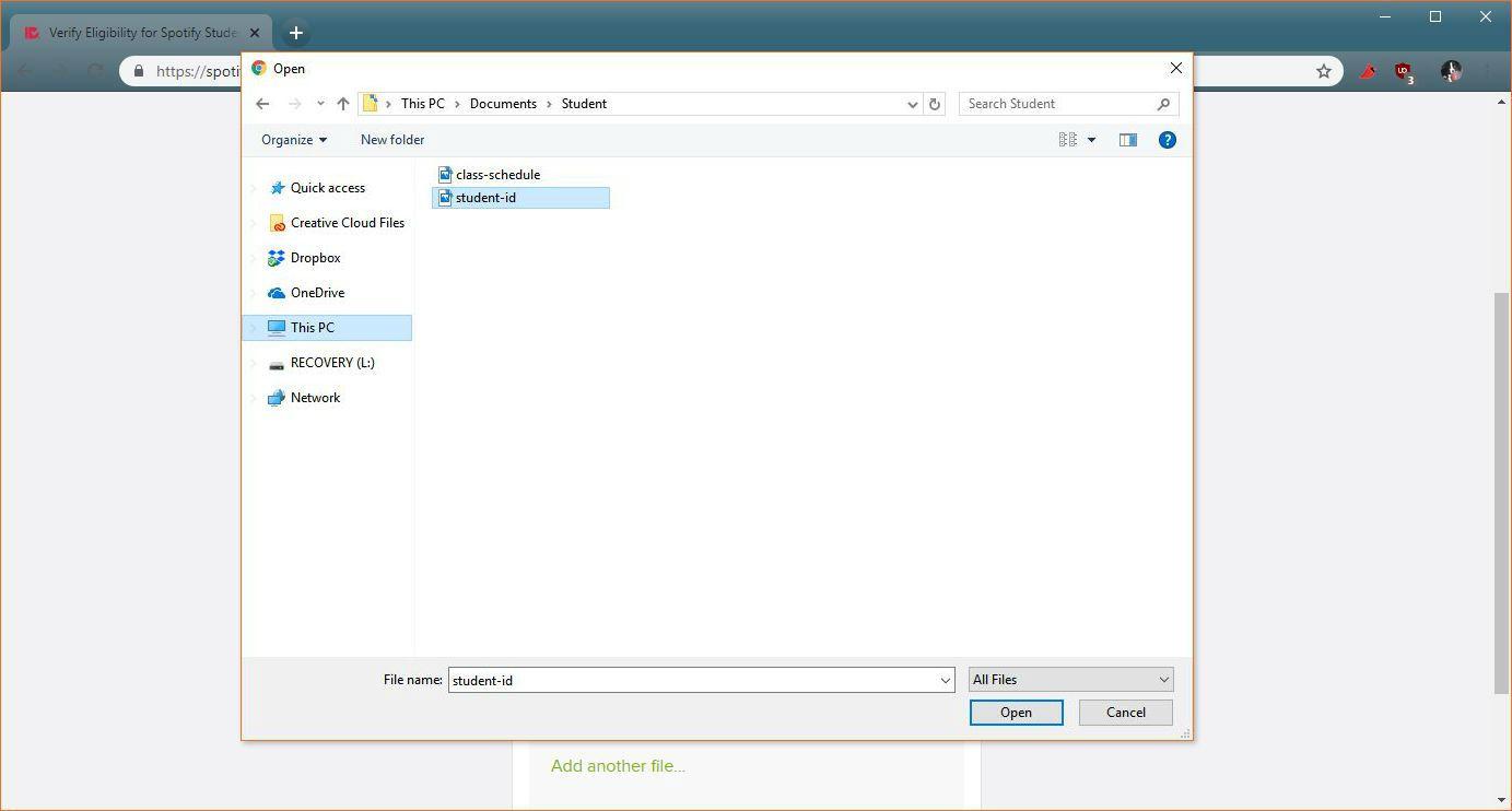 A screenshot of uploading a verification document.
