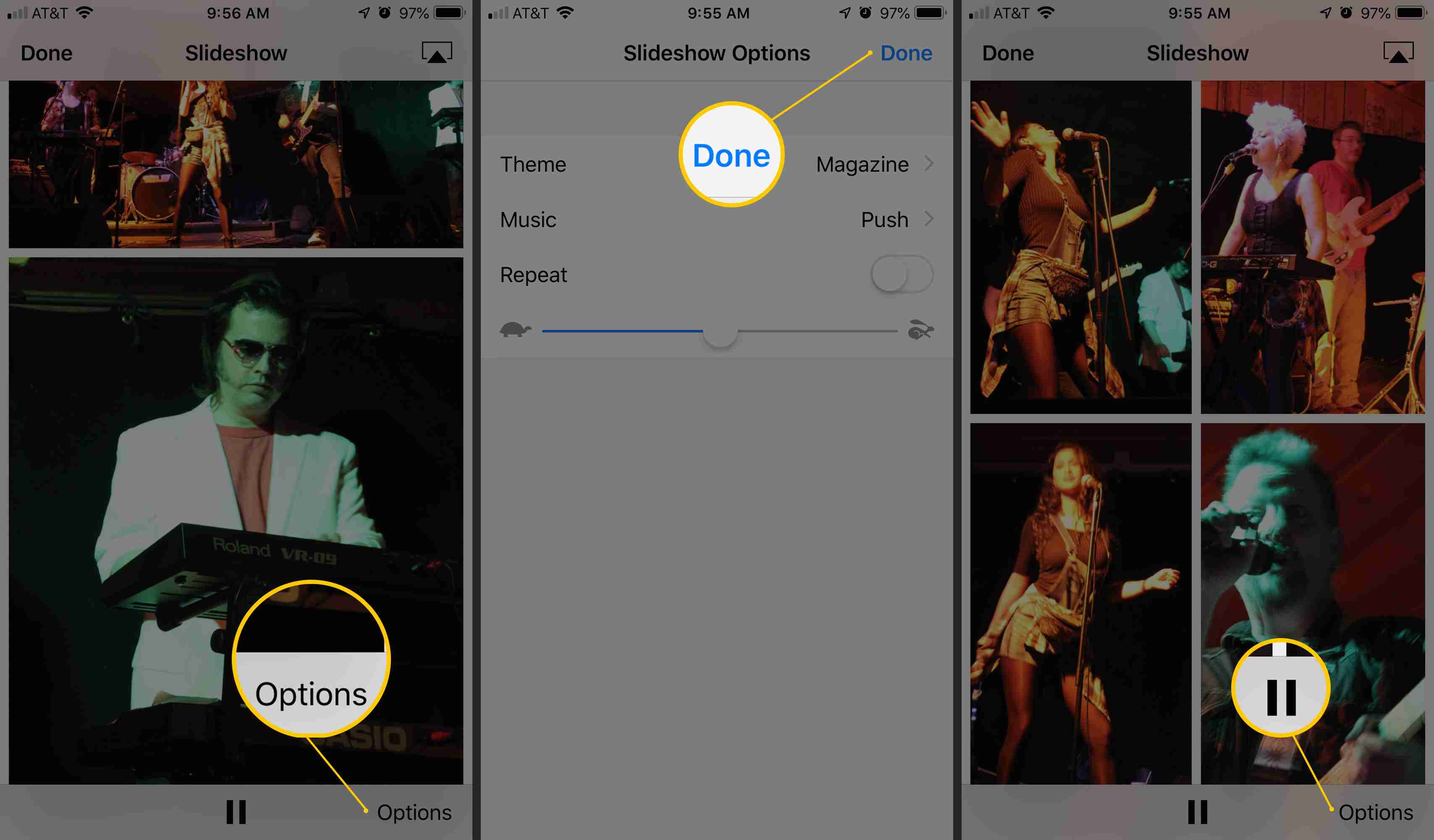 Three iOS screens showing Options, Done, and Pause buttons in Slideshow interface for Photos