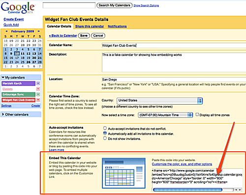Embedding Google Calendar on a Website or Blog