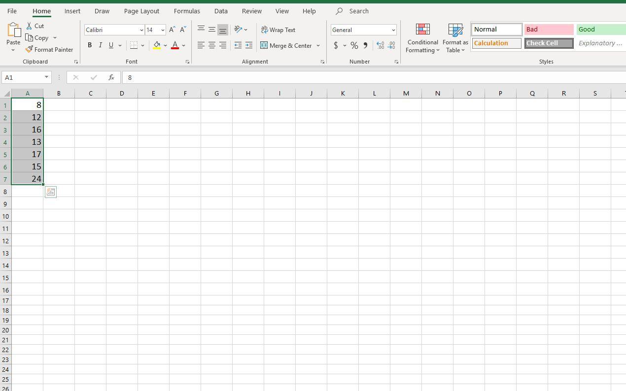 Screenshot of selected cells in Excel
