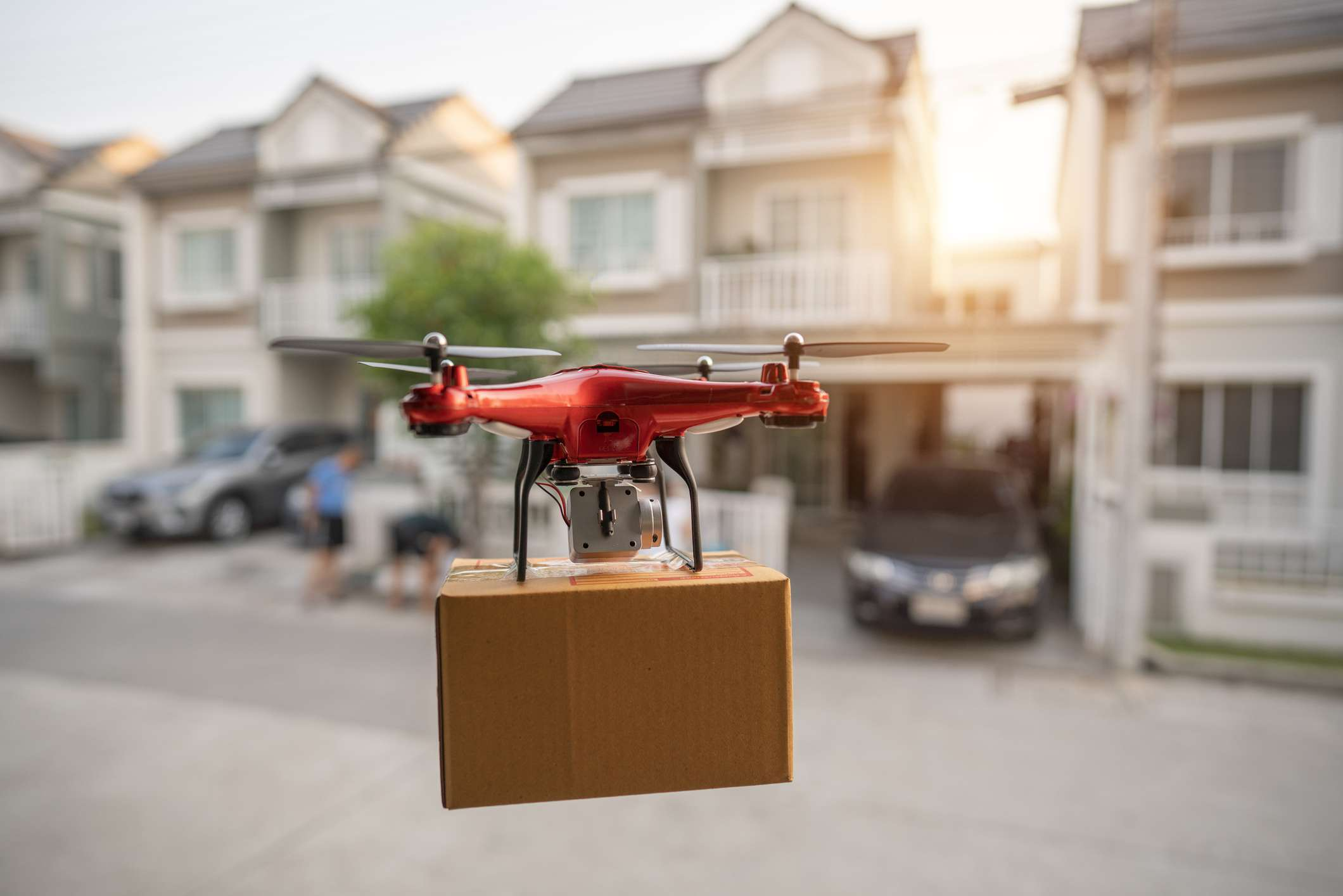 Delivery drone flying in New York City