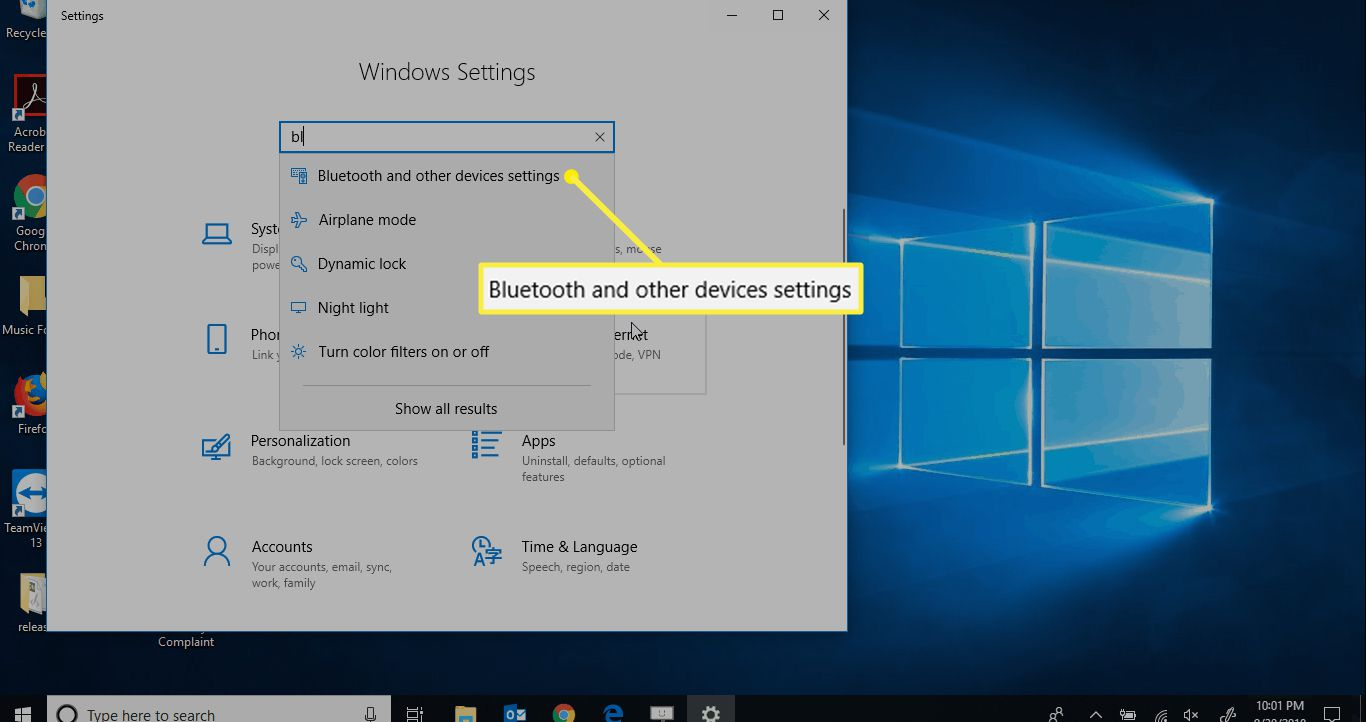 Bluetooth and other devices settings in Windows