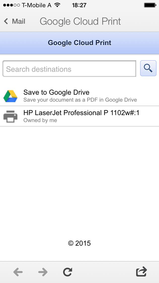 Screenshot of Google Cloud Print from Gmail mobile