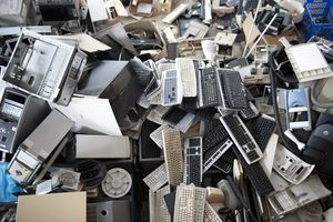 Obsolete computer electronics equipment gathered for recycling