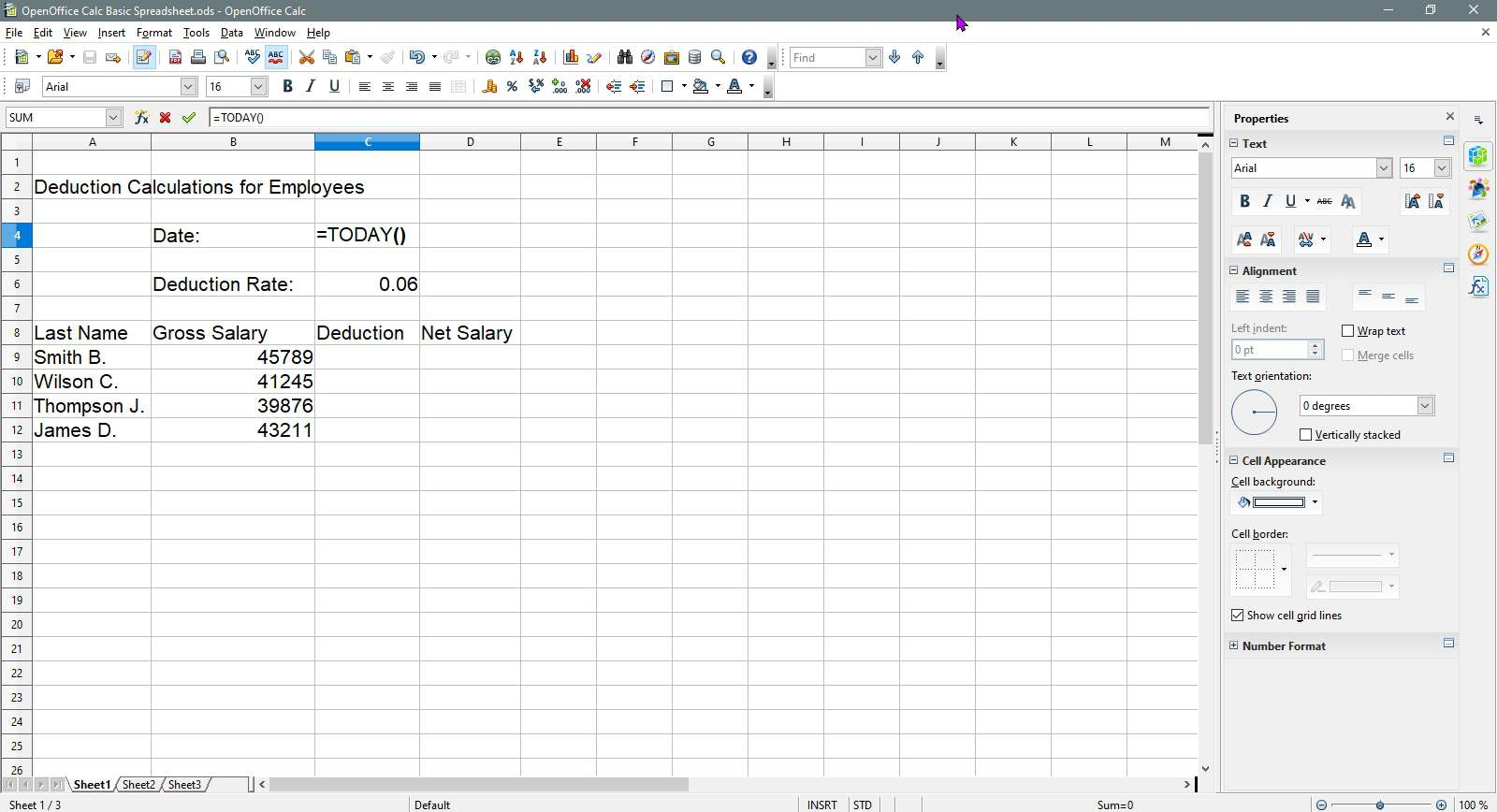 Entering in the Today formula in OpenOffice Calc.