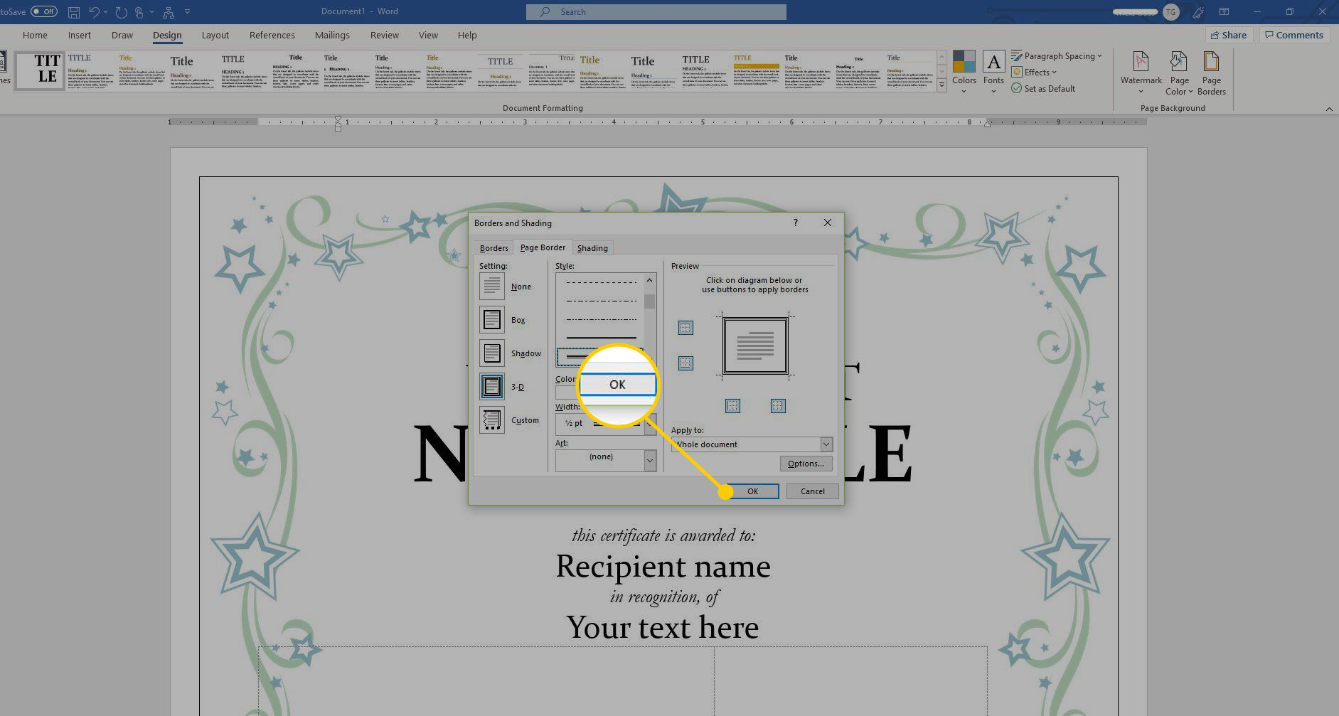 Borders and Shading menu in Word with the OK button highlighted