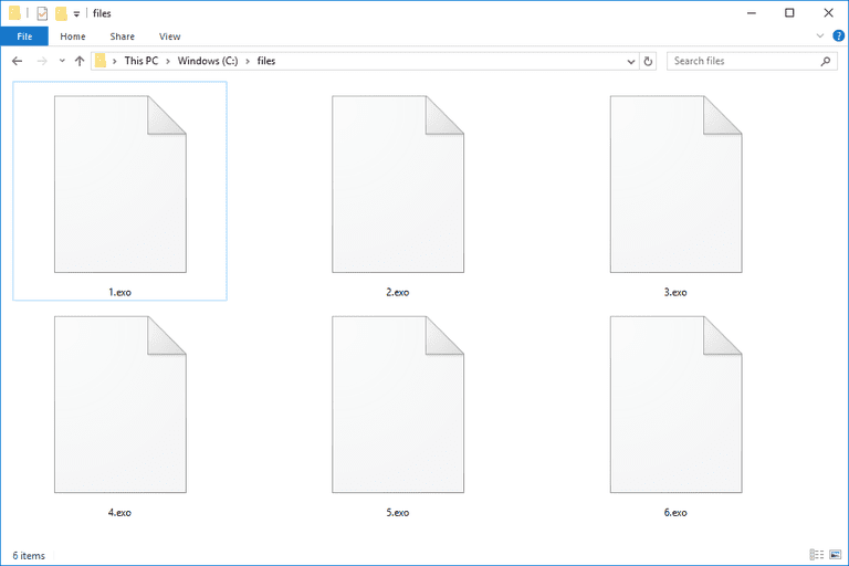 Screenshot of several EXO files in Windows 10