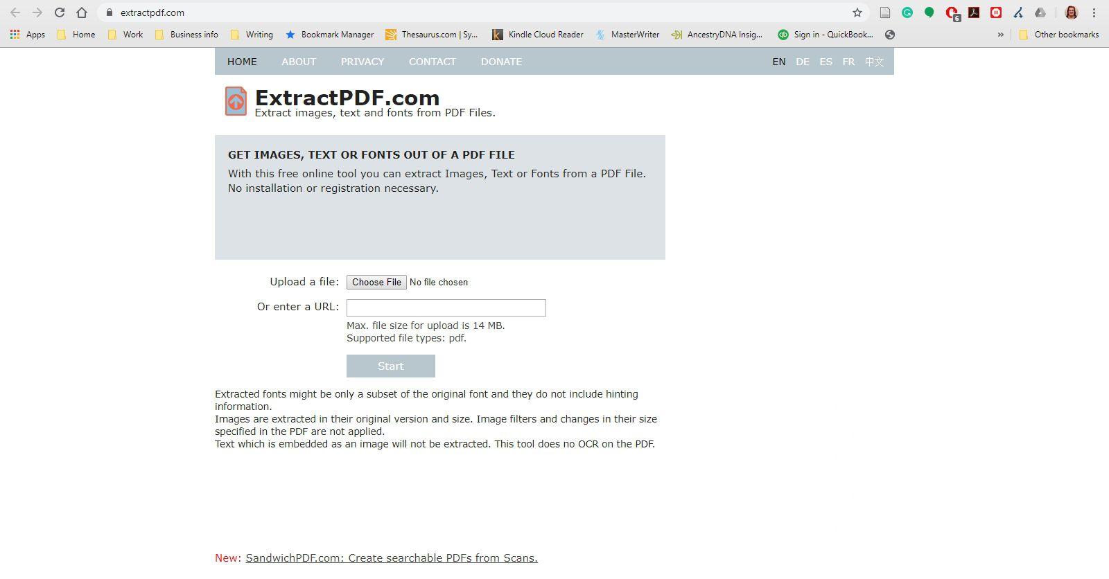 ExtractPDF website.