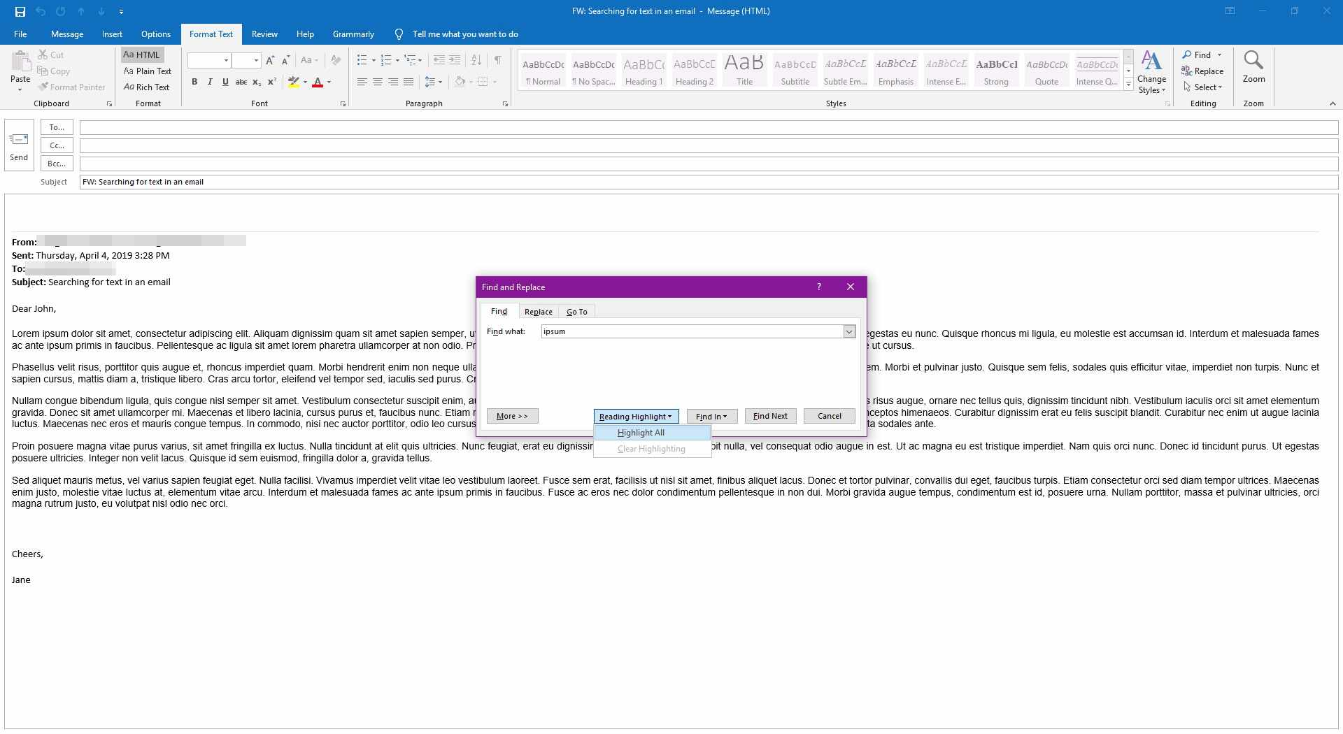 Turing on highlights for the find text command in Outlook.