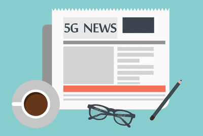 Illustration of 5G news in a newspaper surrounded by a drink, eyeglasses, and a pencil