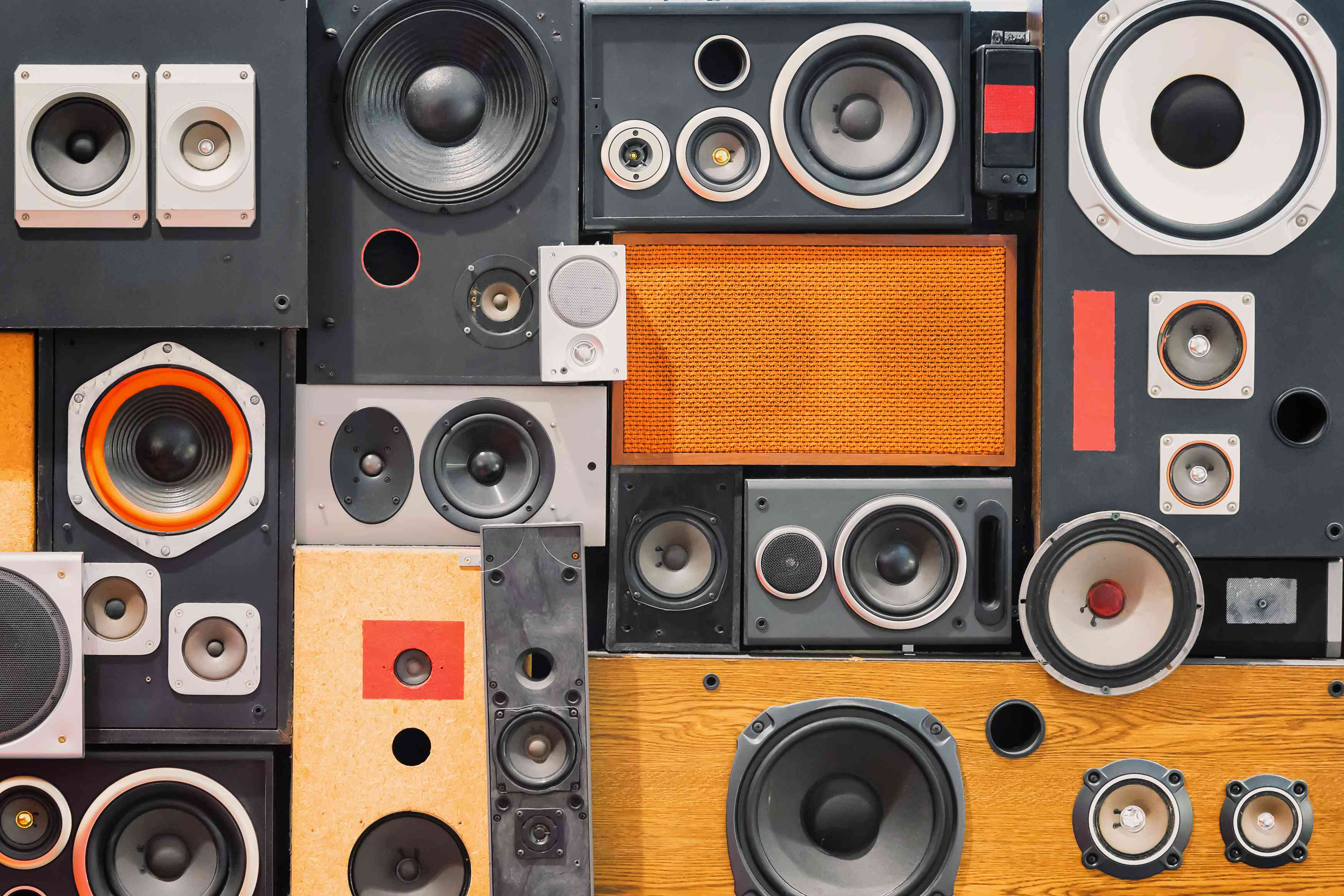 Retro speakers stacked like tetris.