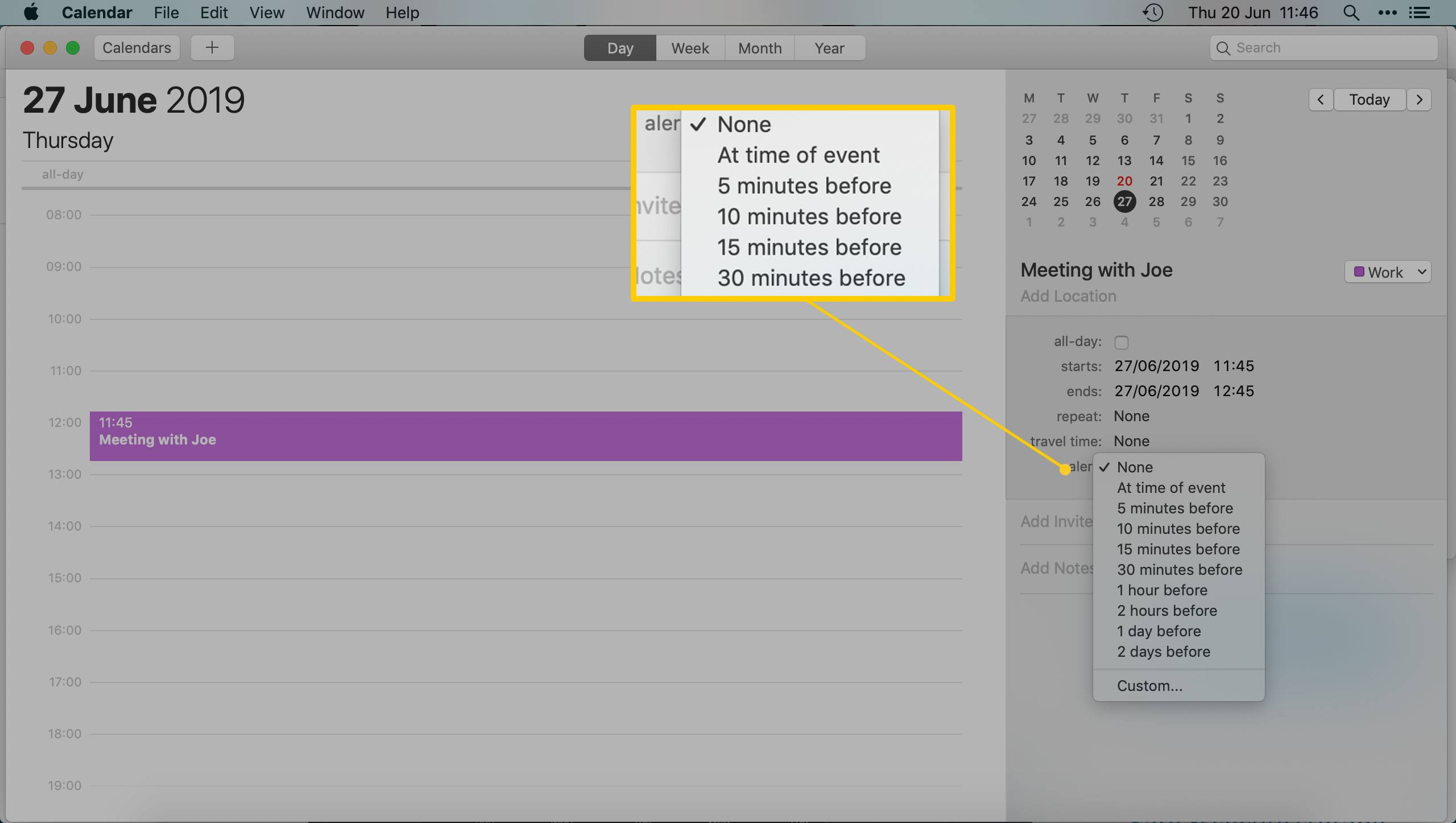 The Mac Calendar App - Setting a timed alert for an appointment