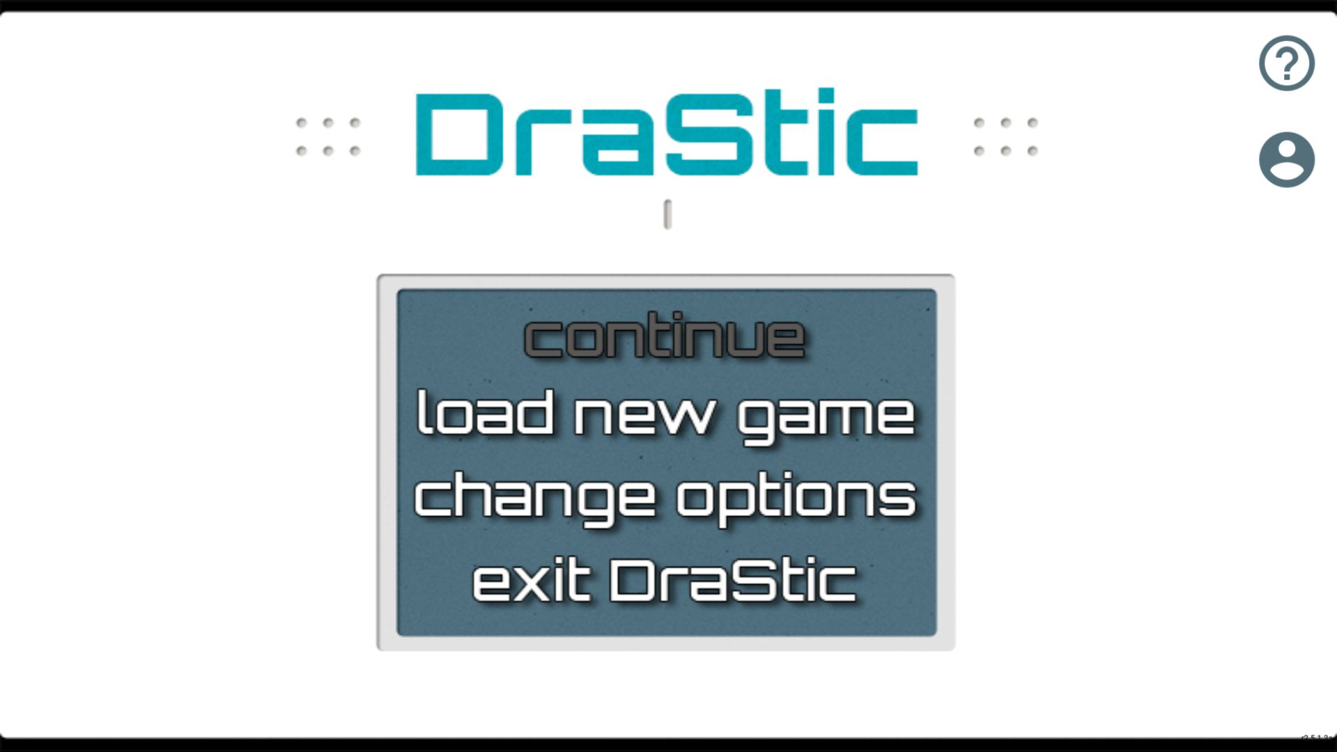 "Screenshot of DraStic emulator main menu (""continue"", ""load new game"", ""change options"" or ""exit DraStic"")"