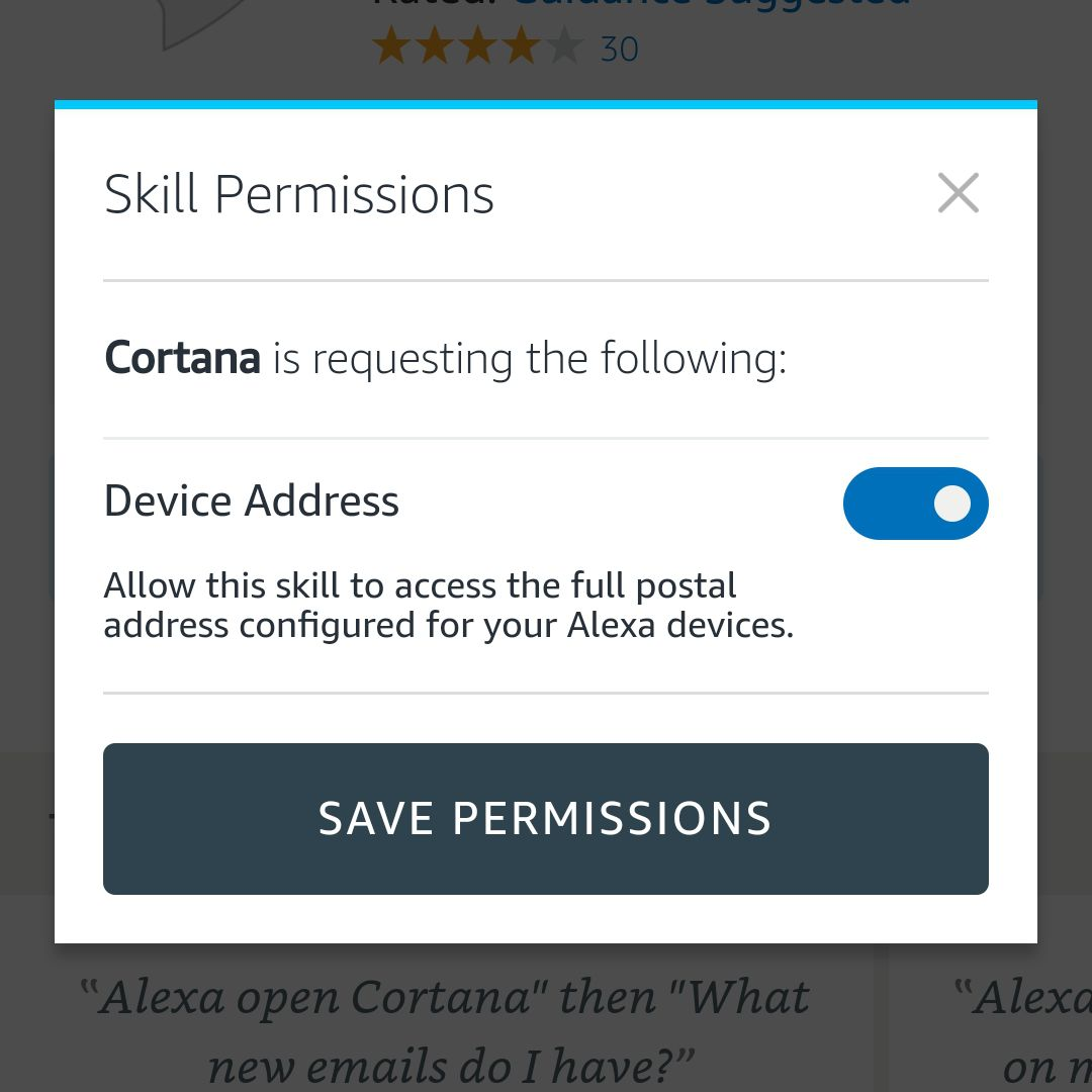 Cortana skill permissions requested screenshot in Alexa Android app