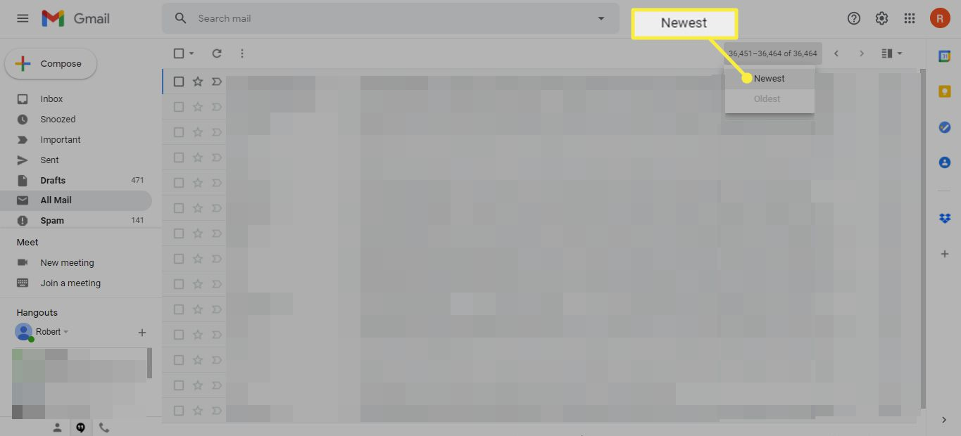 Newer arrow in Gmail Inbox for reverse chronological order