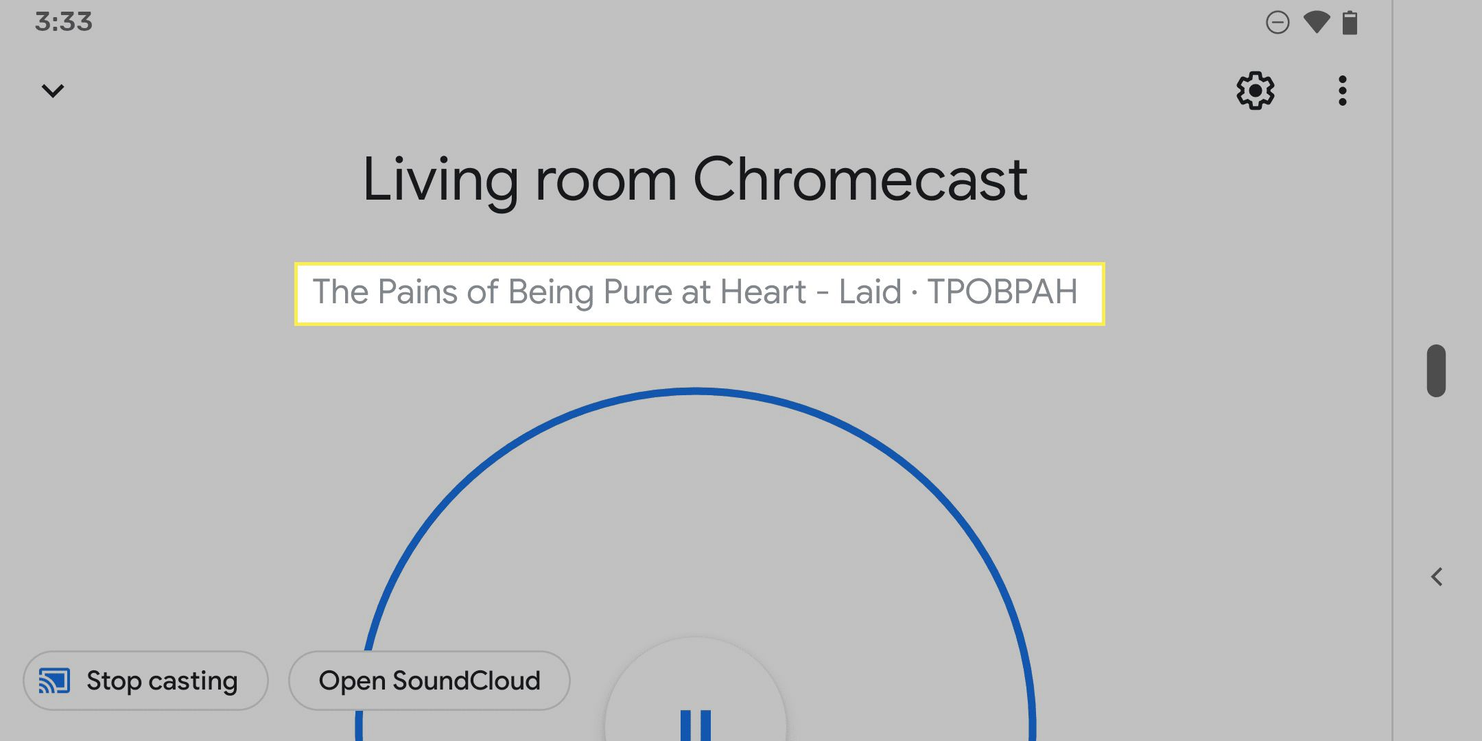 Chromecast displaying a SoundCloud song
