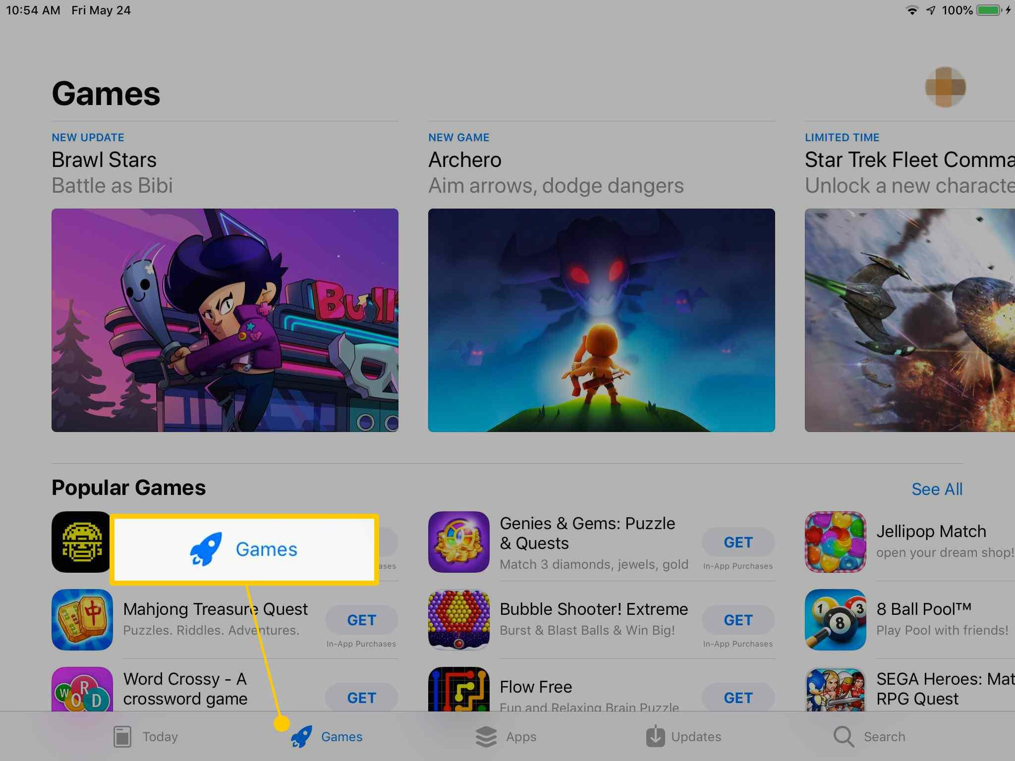 Games tab in App Store on iPad