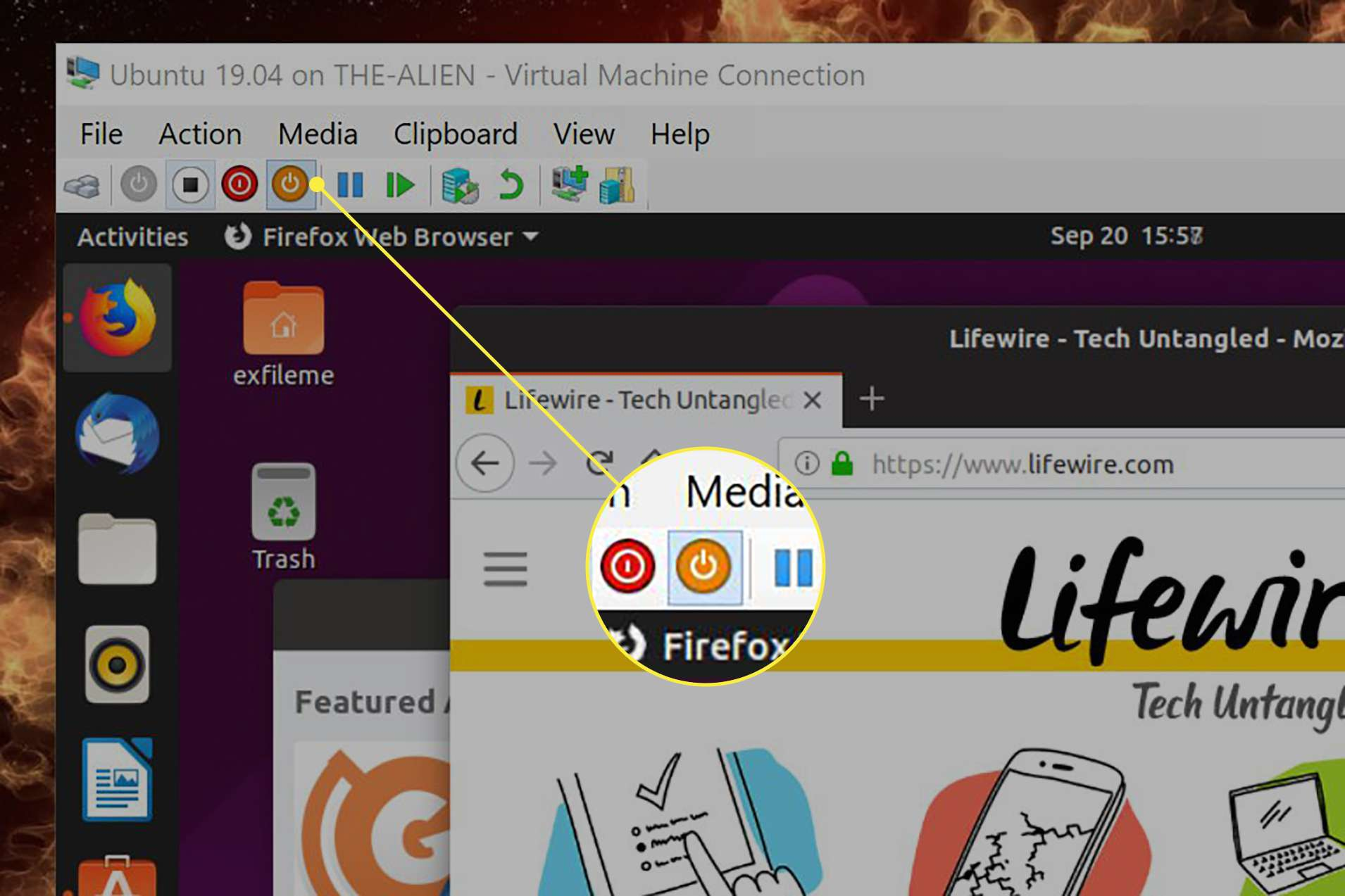 The Save button for a virtual machine