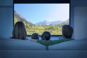 Family watching big screen TV