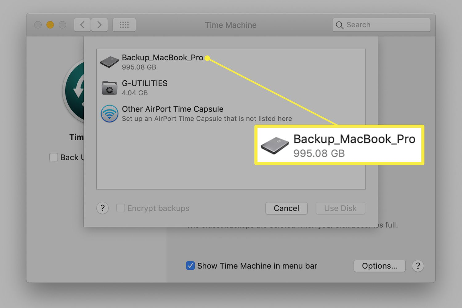 Time Machine preferences showing available drives on Mac