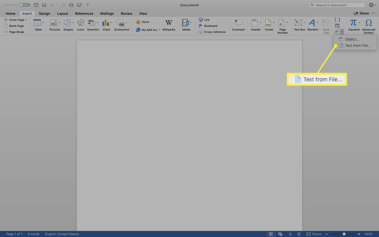 Text from File selected in the menu under the Object icon