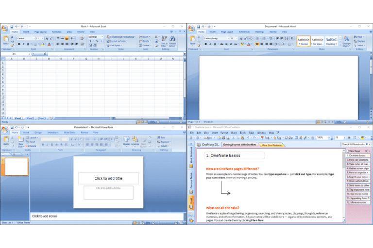 Microsoft Office screenshots