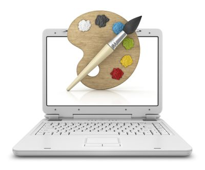 Computer with paint and paintbrush