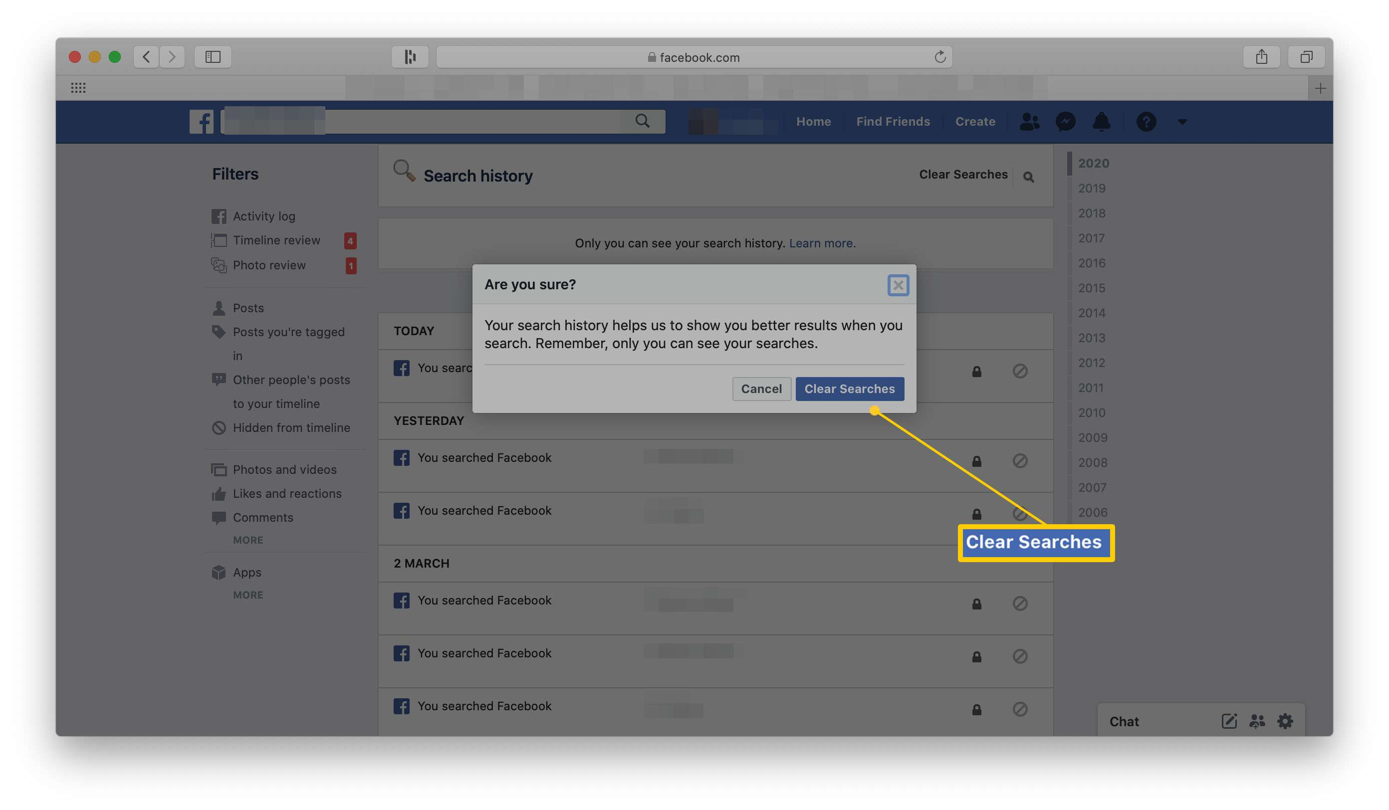 Facebook search history with clear searches highlighted