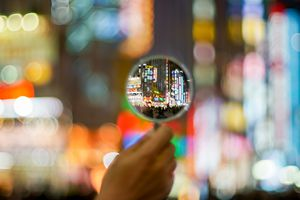 Neon signs through a magnifying glass