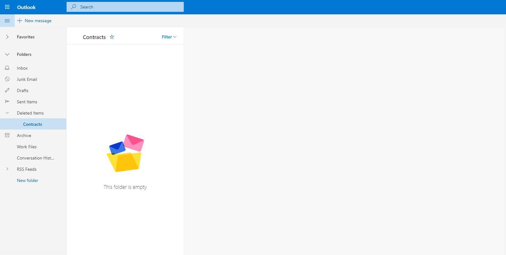 deleted folder in Outlook.com