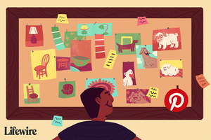Person looking at a corkboard full of photos of items; includes Pinterest logo on the bottom right