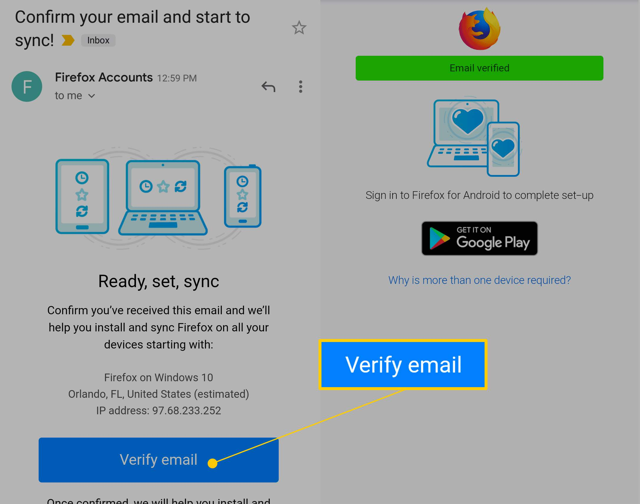 Verify email button for Firefox Sync