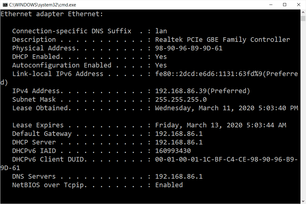 ipconfig all command results in Windows 10