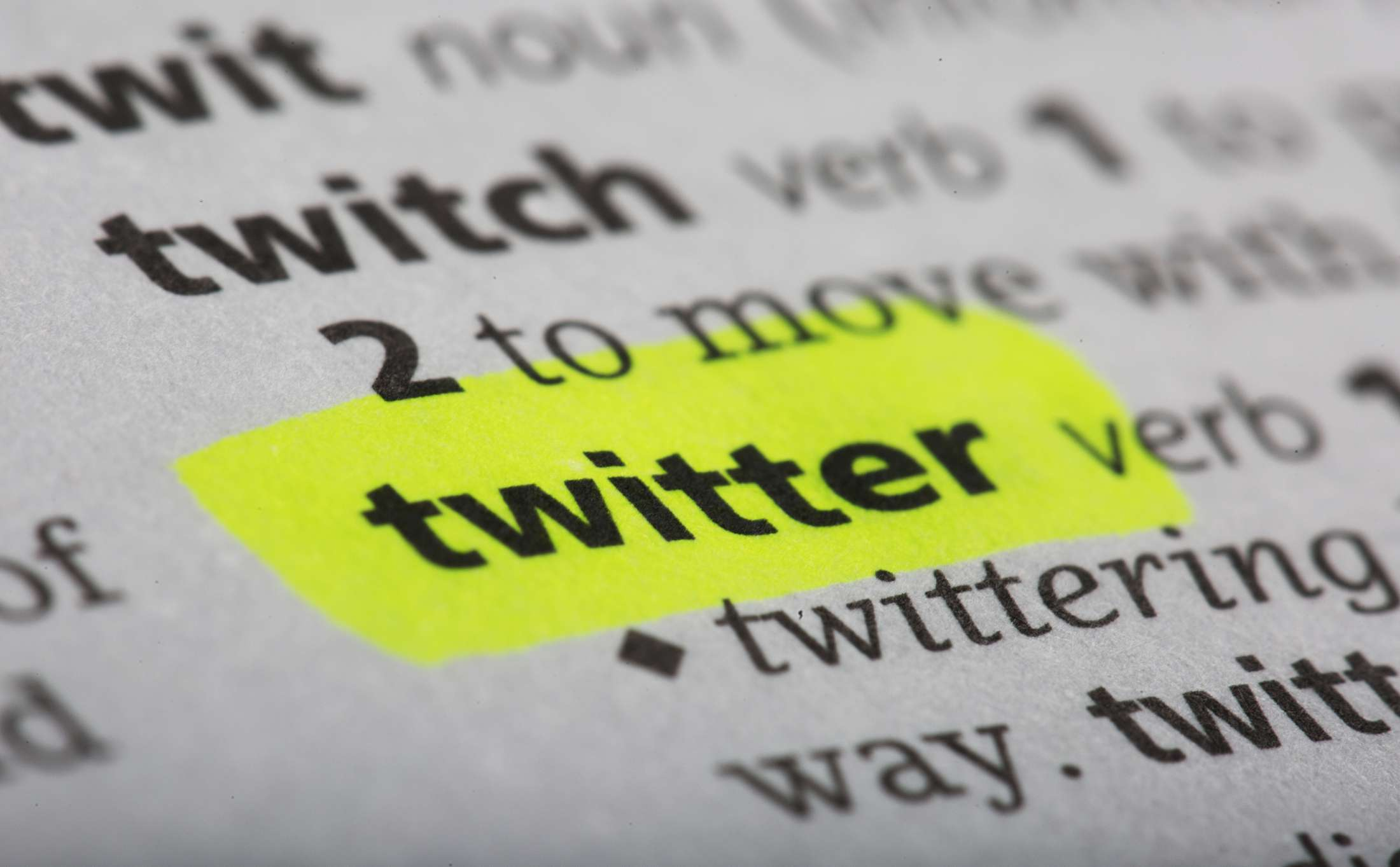 The word 'Twitter' highlighted on a dictionary page.