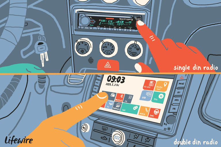 Illustration of a single and double din radio in a car