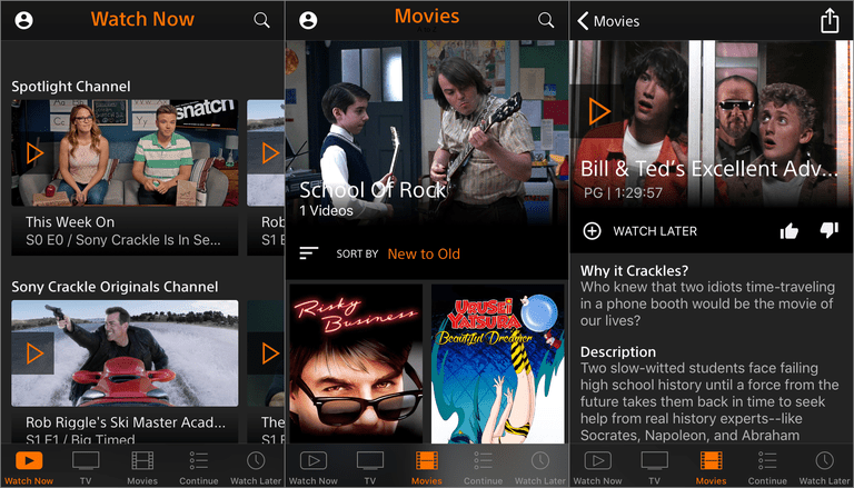 Screenshots of the Crackle free movie app