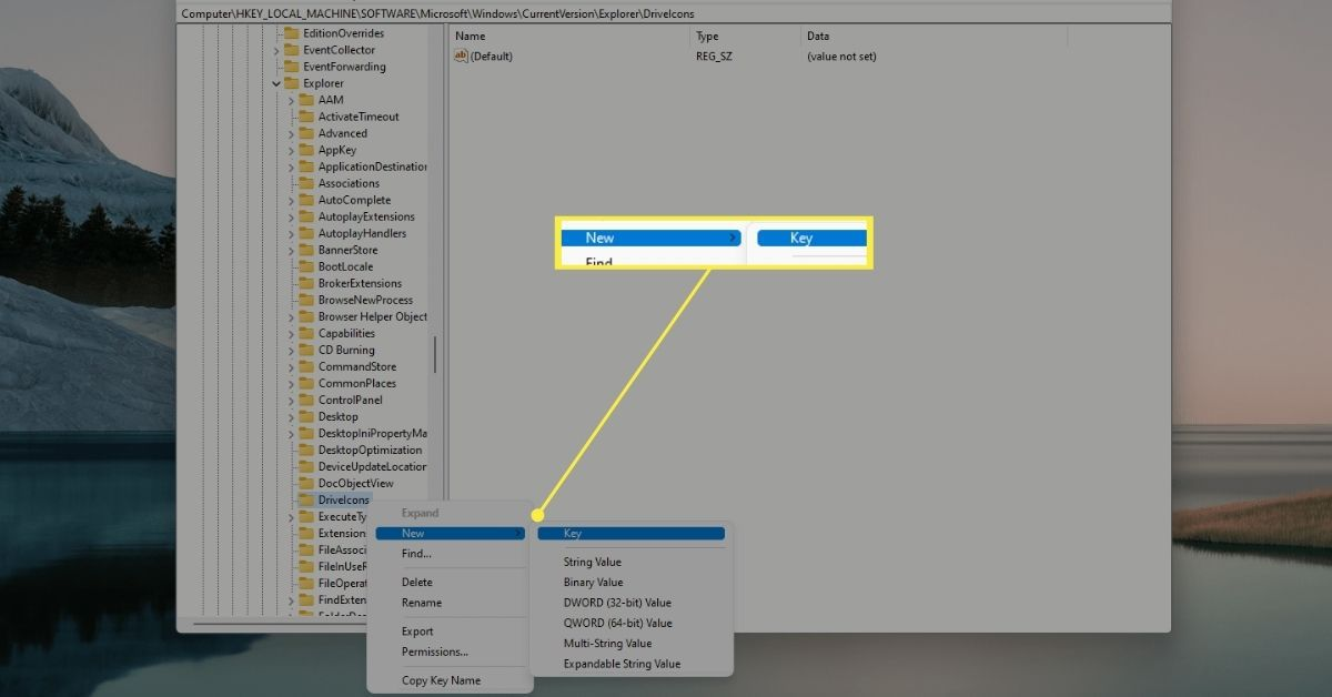 DriveIcons new key in registry editor for Windows 11